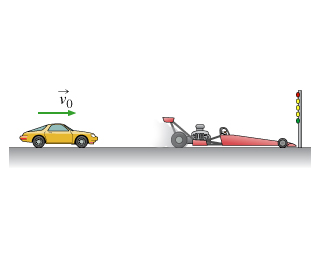 The figure shows a car moving to the right with speed v 0 toward a stopped dragster, which stands in front of the lights facing to the right.